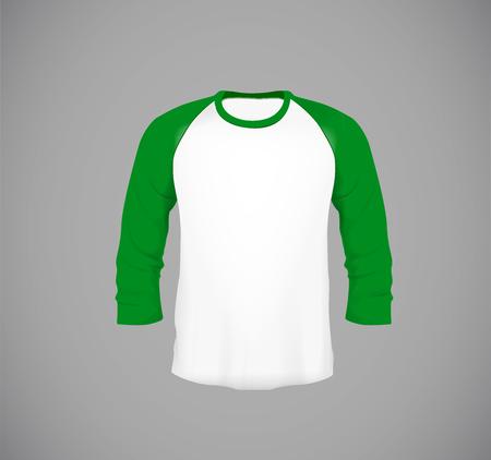 Mens slim-fitting long sleeve baseball shirt. Green Mock-up design template for branding.
