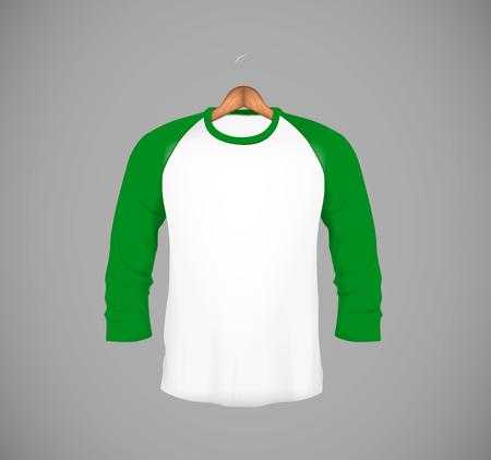Men's slim-fitting long sleeve baseball shirt with wood hanger. Green Mock-up design template for branding. Foto de archivo - 114861577