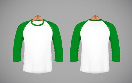 Mens slim-fitting long sleeve baseball shirt with wood hanger. Green Mock-up design template for branding.
