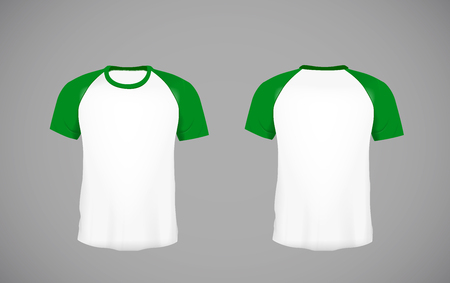 Mens slim-fitting short sleeve baseball shirt. Green Mock-up design template for branding. Illustration