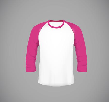 Mens slim-fitting long sleeve baseball shirt. Pink Mock-up design template for branding.
