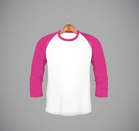 Mens slim-fitting long sleeve baseball shirt with wood hanger. Pink Mock-up design template for branding.