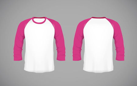 Men's slim-fitting long sleeve baseball shirt. Pink Mock-up design template for branding. Foto de archivo - 114861587