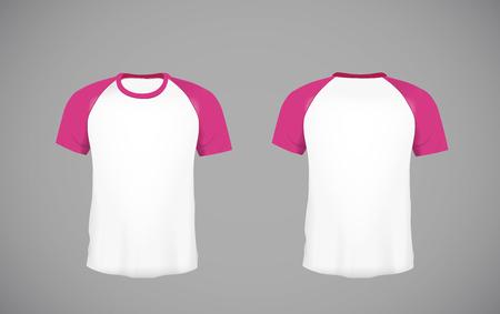 Mens slim-fitting short sleeve baseball shirt. Pink  Mock-up design template for branding.