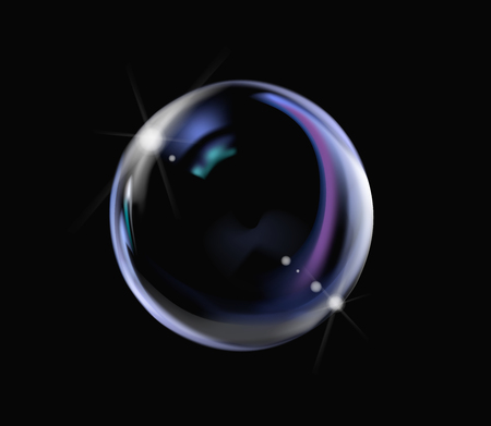 Realistic soap bubble with rainbow colors on black background. Soap Bubble with glares. Bubble illustration vector.