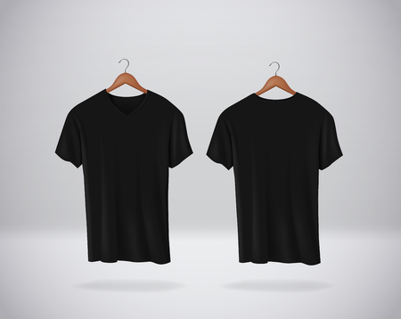 Black T-Shirts Mock-up clothes with V neck hanging isolated on wall, blank front and rear side view. Иллюстрация