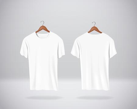 White T-Shirts Mock-up clothes hanging isolated on wall, blank front and rear side view. Иллюстрация