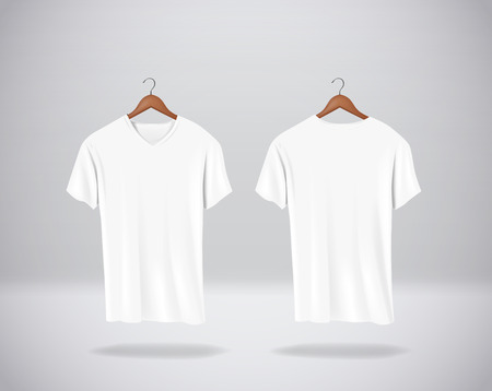 White T-Shirts Mock-up clothes with V neck hanging isolated on wall, blank front and rear side view.