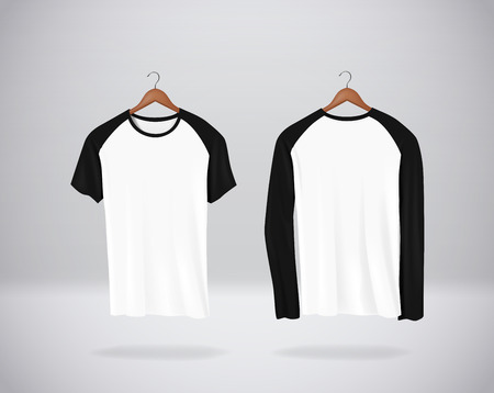 Long and short sleeve Baseball T-Shirts Mock-up clothes hanging isolated on wall, blank front and rear side view.