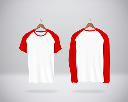 Long and short sleeve Baseball T-Shirts Mock-up clothes hanging isolated on wall, blank front and rear side view. Red color.