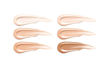 Kosmetik, Lippenstift bilden flüssige Foundation-Texturverschmierungen. Beige Foundation Make-up Abstrich. Töne Striche. Vektorgrafik