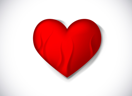 Red vector fiery heart with flames. Heart on fire. Infernal love Illustration