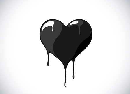 Black heart shape melting with drops. Bloody heart symbol for logo, branding.