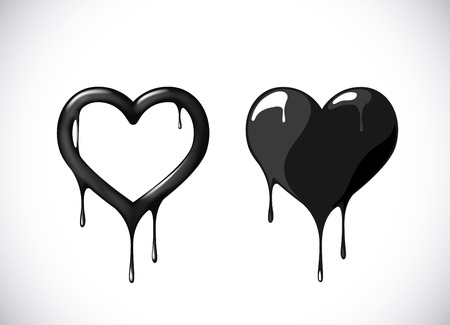 Black heart shape set melting with drops. Black blood poison heart symbol for logo, branding.