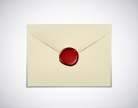 Old envelope paper with red wax seal stamp isolated 免版税图像 - 125298559