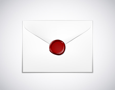 Envelope paper with red wax seal stamp isolated
