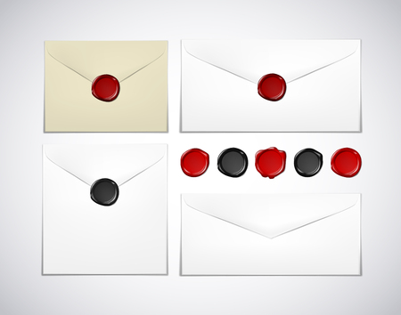 White and old envelope paper with wax seal stamps set isolated