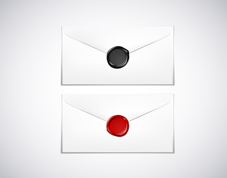 Envelope paper with red / black wax seal stamp isolated Stock Illustratie
