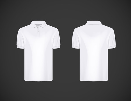 Men's slim-fitting short sleeve polo shirt. White polo shirt mock-up design template for branding. Иллюстрация
