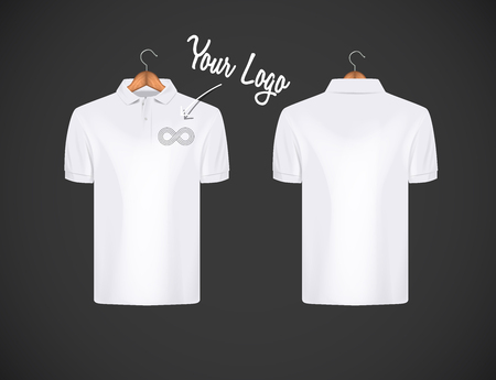 Men's slim-fitting short sleeve polo shirt with logo for advertising. White polo shirt with wooden hanger isolated mock-up design template for branding.