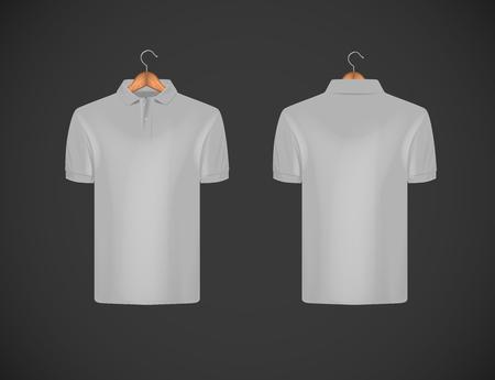 Men's slim-fitting short sleeve polo shirt. Gray polo shirt with wooden hanger mock-up design template for branding. Illustration