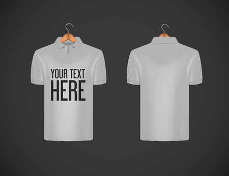 Mens slim-fitting short sleeve polo shirt with lettering for advertising. Gray polo shirt with wooden hanger isolated mock-up design template for branding.