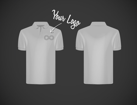 Mens slim-fitting short sleeve polo shirt with logo for advertising. Gray polo shirt isolated mock-up design template for branding.