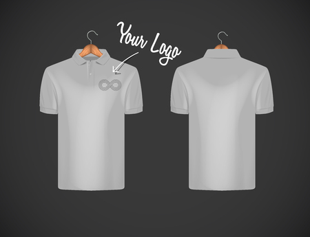 Mens slim-fitting short sleeve polo shirt with logo for advertising. Gray polo shirt with wooden hanger isolated mock-up design template for branding.