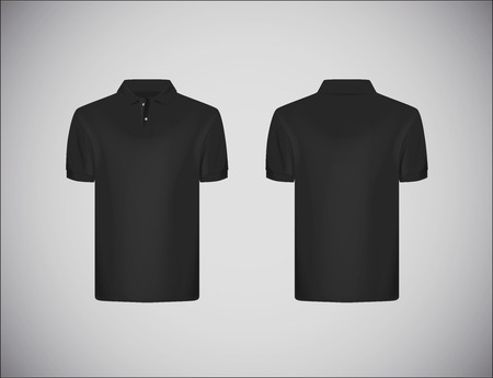 Men's slim-fitting short sleeve polo shirt. Black polo shirt mock-up design template for branding.