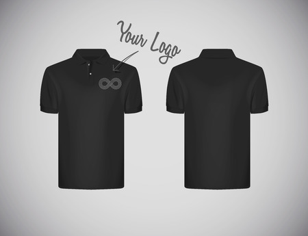 Mens slim-fitting short sleeve polo shirt with logo for advertising. Black polo shirtmock-up design template for branding.
