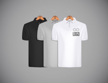 Mens slim-fitting short sleeve polo shirt with logo for advertising. Black, gray and white polo shirt collection with wooden hanger isolated mock-up design template for branding.