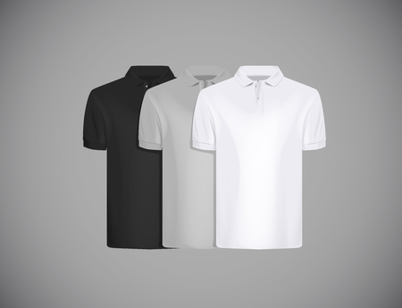 Mens slim-fitting short sleeve polo shirt  for advertising. Black, gray and white polo shirt collection isolated mock-up design template for branding.
