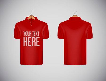 Mens slim-fitting short sleeve polo shirt with lettering for advertising. Red polo shirt with wooden hanger isolated mock-up design template for branding.