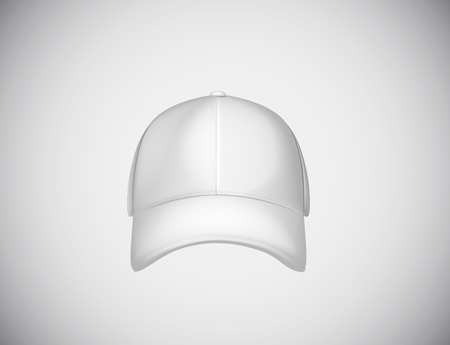 Realistic front view white baseball cap isolated on white background vector illustration.