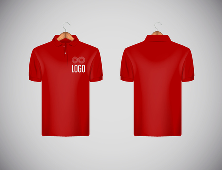 Mens slim-fitting short sleeve polo shirt with logo for advertising. Red polo shirt with wooden hanger isolated mock-up design template for branding.