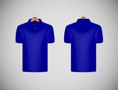 Men's slim-fitting short sleeve polo shirt. Blue polo shirt with wooden hanger isolated mock-up design template for branding.