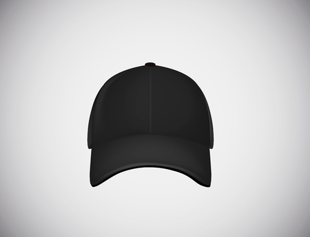 Realistic front view black baseball cap isolated on white background vector illustration.