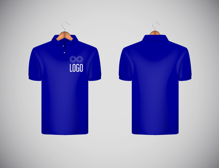 Men's slim-fitting short sleeve polo shirt with logo for advertising. Blue polo shirt with wooden hanger isolated mock-up design template for branding.