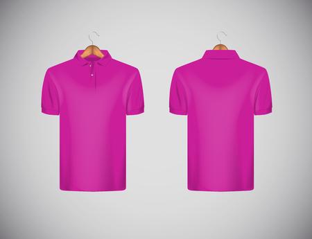 Men's slim-fitting short sleeve polo shirt. Pink polo shirt with wooden hanger isolated mock-up design template for branding. Illustration