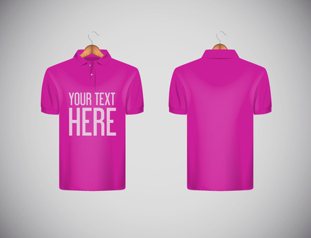 Men's slim-fitting short sleeve polo shirt with lettering for advertising. Pink polo shirt with wooden hanger isolated mock-up design template for branding. Stock Illustratie