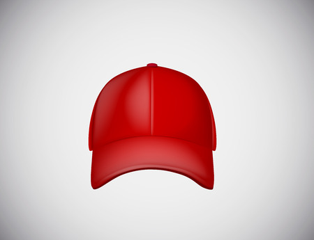 Realistic front view red baseball cap isolated on white background vector illustration.
