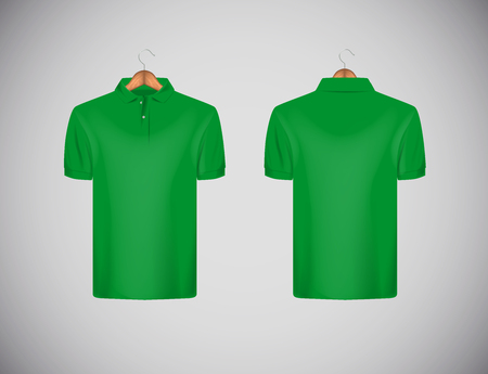 Mens slim-fitting short sleeve polo shirt. Green polo shirt with wooden hanger isolated mock-up design template for branding. Çizim
