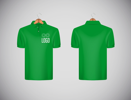 Men's slim-fitting short sleeve polo shirt with logo for advertising. Green polo shirt with wooden hanger isolated mock-up design template for branding.