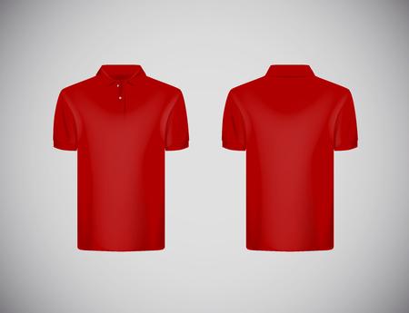 Men's slim-fitting short sleeve polo shirt. Red polo shirt mock-up design template for branding.