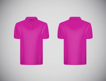 Men's slim-fitting short sleeve polo shirt. Pink polo shirt mock-up design template for branding.