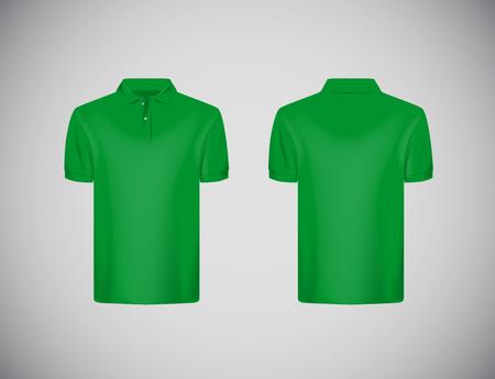 Men's slim-fitting short sleeve polo shirt. Greenpolo shirt mock-up design template for branding. Stock Illustratie