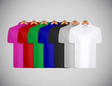 Mens polo shirt template collection in colors slim-fitting short sleeve polo shirt. Polo shirts mock-up design template for branding.