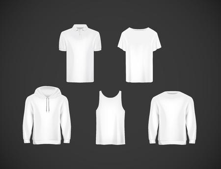 Men's wear white clothing collection. Slim-fitting short sleeve polo shirt, hoody, sweatshirt .
