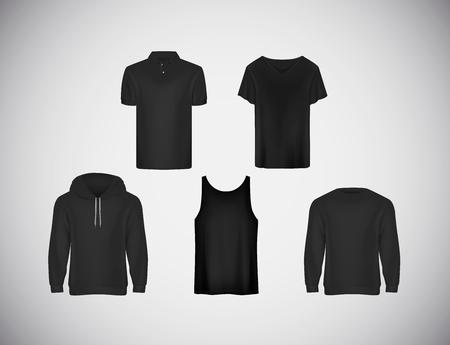 Mens wear black clothing collection. Slim-fitting short sleeve polo shirt, hoody, sweatshirt . Çizim