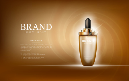 Serum essence golden with dropper in bottle. Skin care collagen hyaluronic moisture formula treatment with honeycomb design elements. Anti age drops DNA helix protection and lifting solution